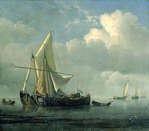 Willem van de Velde de Jonge - Verankerde Kaag en Smalschip.jpg