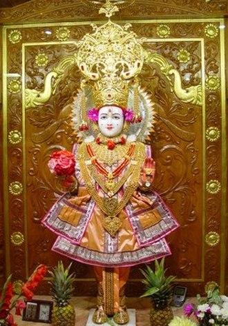 Swaminarayan (spiritual tradition) - Swaminarayan in the form of Ghanshyam at a temple in London