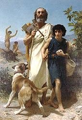 Der blinde Homer mit der Lyra auf dem Rücken wird geführt. Gemälde von William Bouguereau, 1874 (Quelle: Wikimedia)