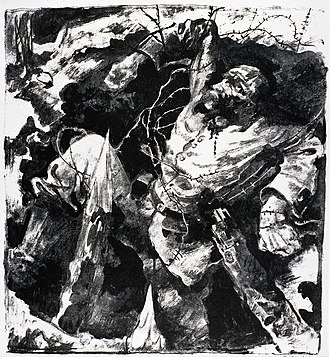 World War I casualties - Dying Soldier in a Trench (1915) by Willy Jaeckel