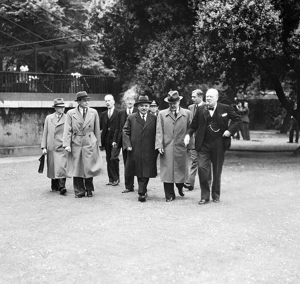 Winston Churchill with British and Soviet representatives, including Anthony Eden and Vyacheslav Molotov, in London following the signing of the Anglo-Soviet Treaty on 26 May 1942. CH5712