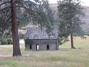 Winthrop, Washington - An abandoned log cabin near Winthrop