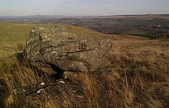 Rocking stone - The Witch's Rocking Stone or Boarstone on the Craig o'Kyle in East Ayrshire