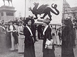 Women's suffrage in Wales - Suffragettes at a rally in Cathays Park in 1913.