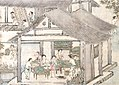 Women placing silkworms on trays together with mulberry leaves (Sericulture by Liang Kai, 1200s).jpg
