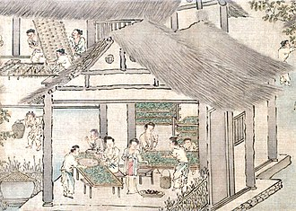 Sericulture - Image: Women placing silkworms on trays together with mulberry leaves (Sericulture by Liang Kai, 1200s)