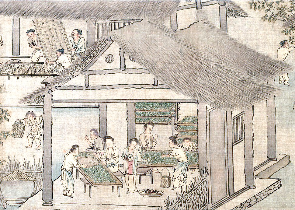 Women placing silkworms on trays together with mulberry leaves (Sericulture by Liang Kai, 1200s)