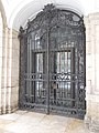Wrought iron gate, Royal Palace F building, 2016 Budapest.jpg