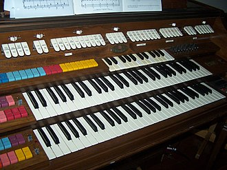 Manual (music) - An electronic organ with three manuals. The two lower manuals are each five octaves in range; the uppermost manual spans two octaves.