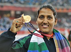 XIX Commonwealth Games-2010 Delhi Krishna Poonia of India won the Gold medal in Women's Discus event, at Jawaharlal Nehru Stadium, in New Delhi on October 11, 2010.jpg