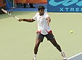 XIX Commonwealth Games-2010 Delhi Rohan Bopanna of India in action against Luczak Peter of Australia, at R.K. Khanna Tennis Stadium, in New Delhi on October 06, 2010.jpg