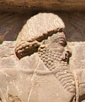 Paropamisadae - Xerxes I tomb, Sattagydian soldier circa 480 BCE (enhanced detail).