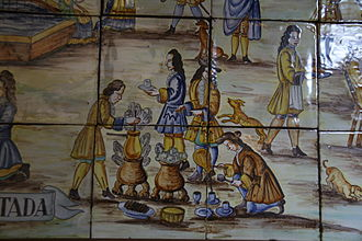 History of chocolate in Spain - Typical 17th-century scene showing the preparation of chocolate