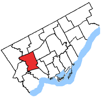 York South—Weston (provincial electoral district) - York South–Weston in relation to the other Toronto ridings