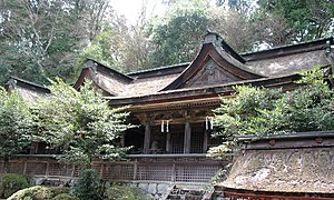 Yoshino Mikumari Shrine - The honden, or main hall, is an Important Cultural Property