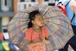 Young Girl with Umbrella Kathmandu Nepal Luca Galuzzi 2006.jpg