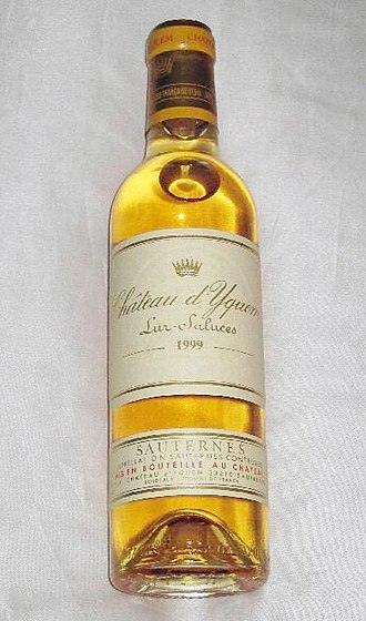 Sweetness of wine - A half bottle of Sauternes from Château d'Yquem, which produces one of the world's most famous and expensive sweet wines