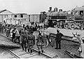 Załadunek zwierząt jucznych i pociągowych do pociągu na froncie kaukaskim (2-823).jpg