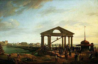 Most pontonowy na Wiśle (Wprowadzenie do Warszawy jeńców i chorągwi zdobytych w bitwach pod Wawrem i Dębem Wielkim 2.IV.1831 r.)