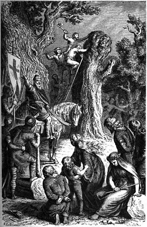 "Irminsul - ""The destruction of Irminsul by Charlemagne"" (1882) by Heinrich Leutemann."