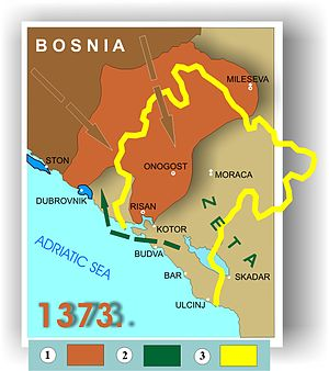 Nikola Altomanović - Serbian Prefect Nicholas Altomanović lost their territories in conflict with a coalition of: Prince Lazar of Serbia, Bosnian Ban Tvrtko and King Ludwig I. 1: The expansion of parts of Bosnia Nicholas Altomanović possession, after his defeat in 1373; 2: Temporarily taking Dračevica, Konavli and Trebinje by Zeta (Balsic); 3: Today's borders of Montenegro.
