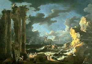 Leonardo Coccorante - Image: 'Port of Ostia During a Tempest', oil on canvas painting by Leonardo Coccorante, 1740s, Lowe Art Museum