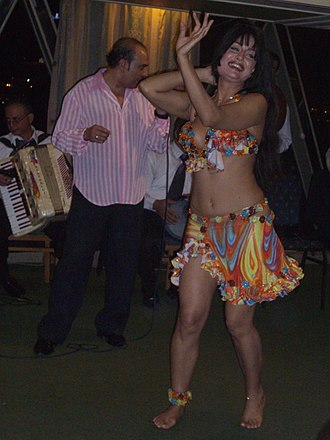 Raqs sharqi - Raqs Sharqi performance on a tourist Nile cruise ship in 2008.