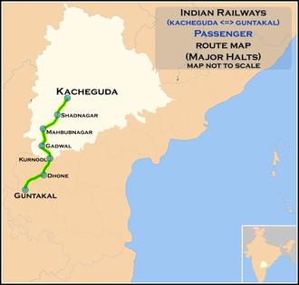 Secunderabad–Dhone section - Image: (Kacheguda Guntakal) Passenger route map