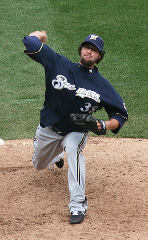 Éric Gagné - Pitching for the Milwaukee Brewers on April 12, 2008