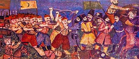 Şəki xan sarayında döyüş təsviri.jpg