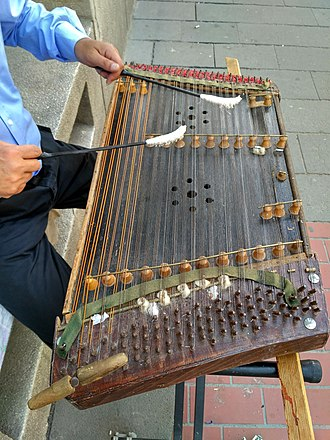 Cimbalom - Romanian țambal being played by a street musician in Bucharest, Romania