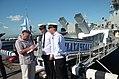 В.В. Шигин подписывает книгу экипажу малого артиллерийского корабля Каспийской флотилии Махачкала 2013.jpg