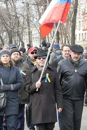 2014 anti-war protests in Russia - Irina Prokhorova with Andrei Makarevich.