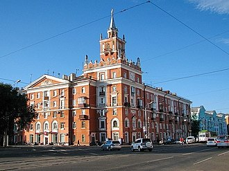 "Komsomolsk-on-Amur - ""House with a spire"" -unofficial symbol of Komsomolsk-on-Amur"
