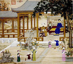 Daoguang Emperor - The Daoguang Emperor with his empress, imperial consorts and children in a palace courtyard