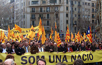 "Nationalities and regions of Spain - 2006 demonstration led by Republican Left Party of Catalonia in favor of using the term ""nation"" to define Catalonia in its Statute of Autonomy"