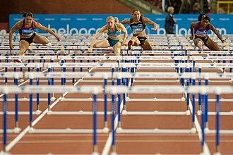 Hurdling - 100 m hurdles at the 2010 Memorial Van Damme. Priscilla Lopes-Schliep, Sally Pearson, Lolo Jones and Perdita Felicien