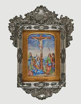 Giulio Clovio - Attributed to Giulio Clovio (Italian, 1498-1578). Crucifixion, ca. 1572. Tempera on parchment, 9 1/8 x 5 5/8 in. (23.2 x 14.3 cm). Brooklyn Museum, Gift of A. Augustus Healy