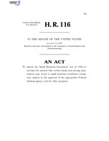 116th United States Congress H. R. 0000116 (1st session) - Investing in Main Street Act of 2019 C - Referred in Senate.pdf
