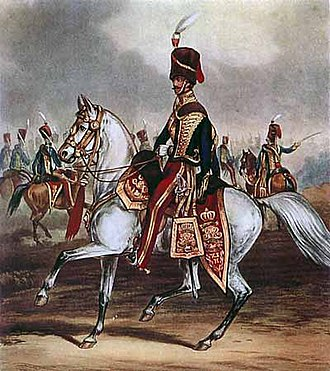 11th Hussars - Officer of the 11th Hussars, ca 1856, in distinctive 'cherry-picker' colours