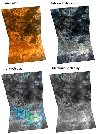 Mawrth Vallis - CRISM Visible and IR images of Mawrth Vallis.  Top left: True color visible image of Mawrth Vallis. Top right: False color infrared reflectance. Bottom left: Detection of an Fe-rich smectite, nontronite, found primarily in the lower elevations of Mawrth Vallis. Bottom right: Detection of an Al-rich smectite, montmorillonite, found primarily at higher elevations than nontronite.