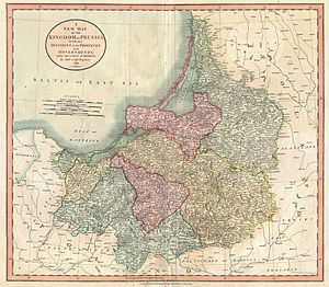 East Prussia - New Map of the Kingdom of Prussia, John Cary 1799, split into the eastern regions of Lithuania Minor (green), Natangia (yellow), Sambia and Warmia (pink), the western Oberland territories with Marienwerder (blue), West Prussian Marienburg (yellow) and Danzig (green)