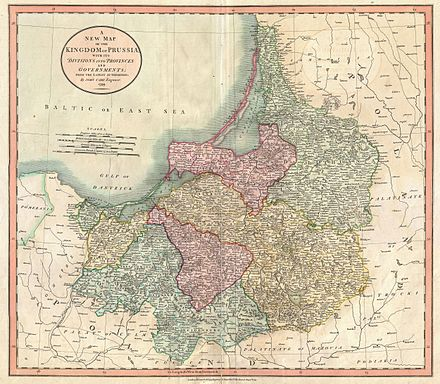 New Map of the Kingdom of Prussia, John Cary 1799, split into the eastern regions of Lithuania Minor (green), Natangia (yellow), Sambia and Warmia (pink), the western Oberland territories with Marienwerder (blue), West Prussian Marienburg (yellow) and Danzig (green) 1799 Cary Map of Prussia and Lithuania - Geographicus - Prussia-cary-1799.jpg