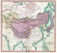 Map of independent Tartary (in yellow) and Chinese Tartary (in violet), in 1806.