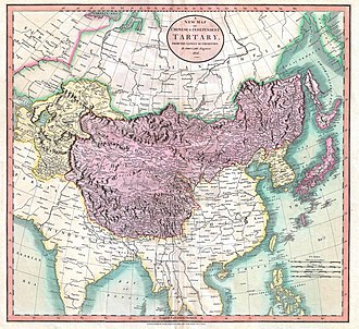Tartary - Map of independent Tartary (in yellow) and Chinese Tartary (in violet), in 1806.