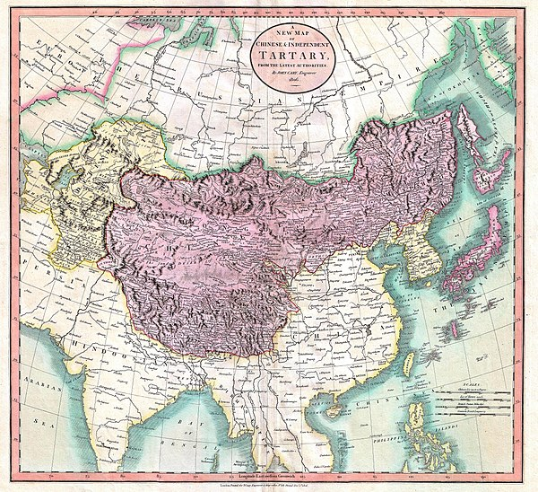 Map of independent Tartary (in yellow) and Chinese Tartary (in violet), in 1806. 1806 Cary Map of Tartary or Central Asia - Geographicus - Tartary-cary-1806.jpg
