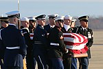 181203 - Military personnel walk George H. W. Bush's casket to hearse at Joint Base Andrews, Maryland.jpg