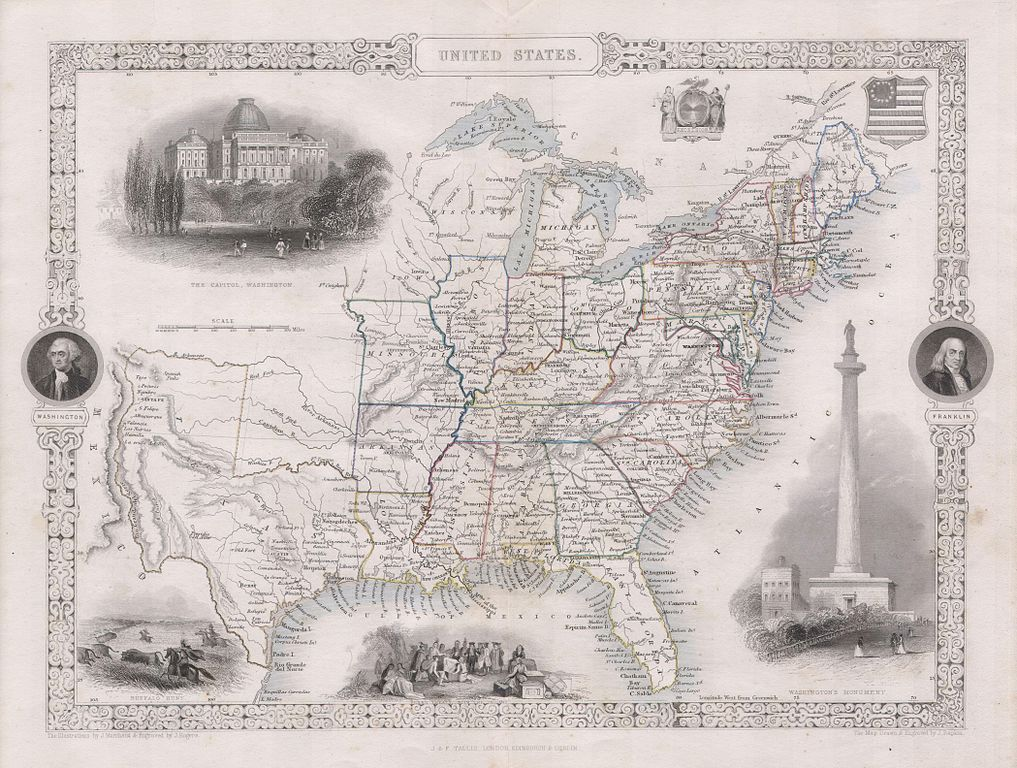 File:1850 Tallis Map of the United States ( Texas at fullest ...