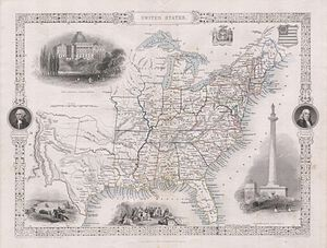 Washington Monument (Baltimore) - 1850 Tallis Map of the United States ( Texas at fullest extent) - Geographicus - United States-tallis-1850
