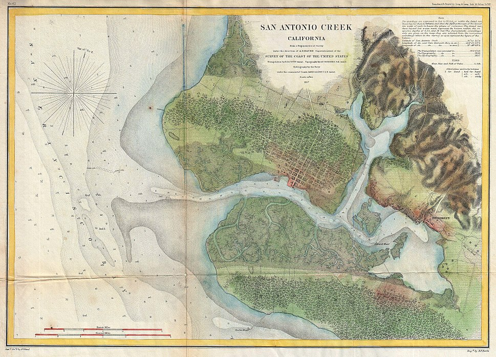 1857 U.S. Coast Survey Map of San Antonio Creek and Oakland, California (near San Francisco) - Geographicus - SanAntonioCreek-uscs-1857.jpg